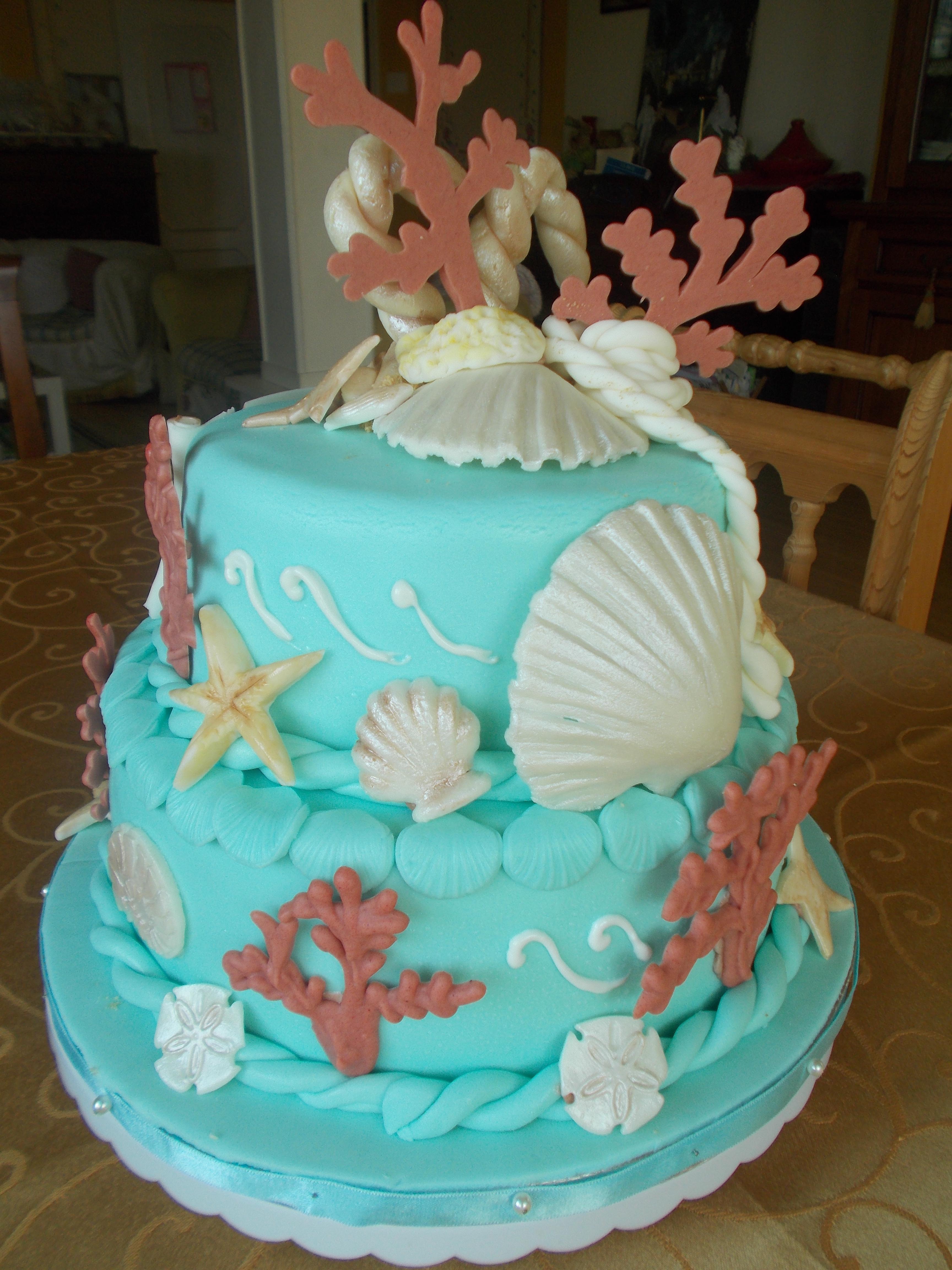 Tutorial decorazione torta marina tortestorte cakes for Decorazioni torte tema mare